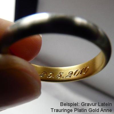 Gravur Trauringe Platin Gold